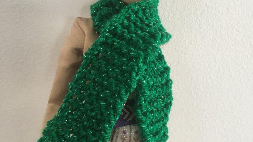 Écharpe laine verte paillettes poupée Barbie