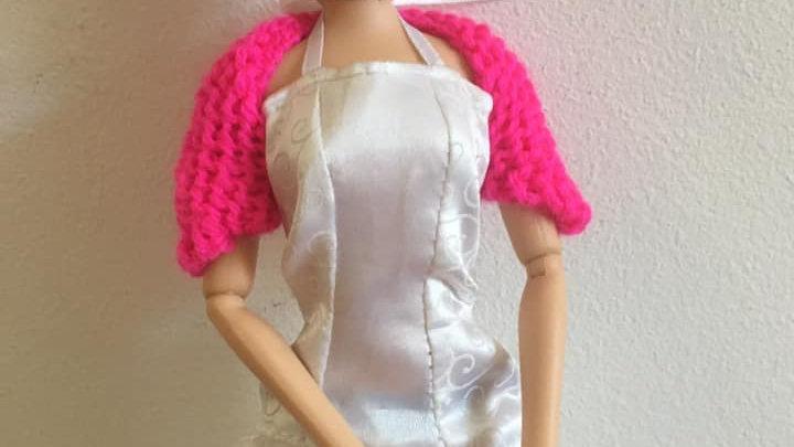 Cache-épaules en laine pour poupée Barbie Rose