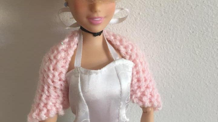 Cache-épaules en laine pour poupée Barbie rose pâle scintillant