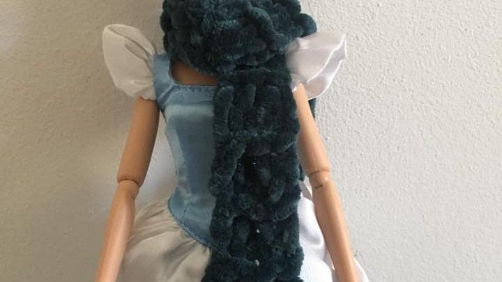 Écharpe large en laine poupée Barbie vert foncé