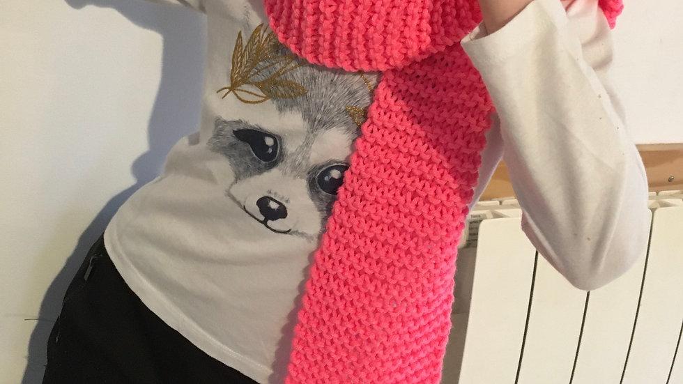 Echarpe douce en laine Rose Fluo