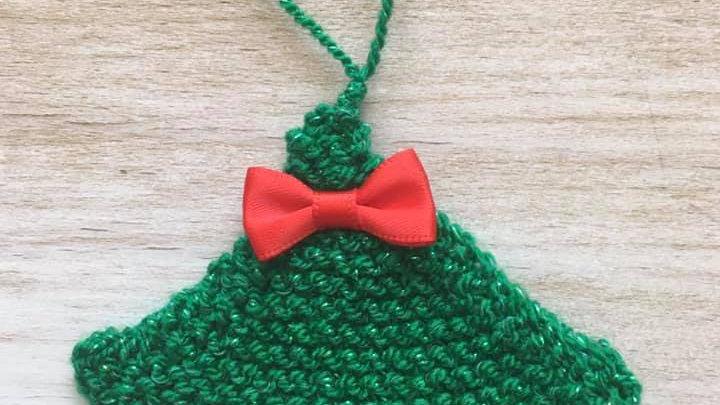 Mini sapin vert en laine déco ornement de Noël nœud rouge