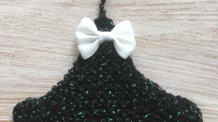 Sapin noir et vert en laine brillante déco ornement de Noël