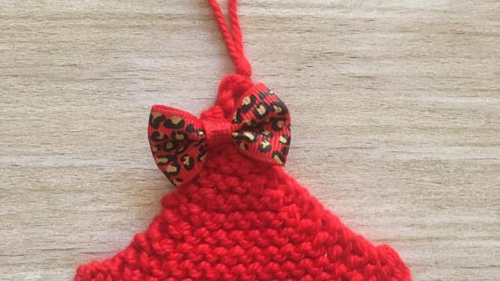 Mini sapin rouge léopard en laine déco ornement de Noël
