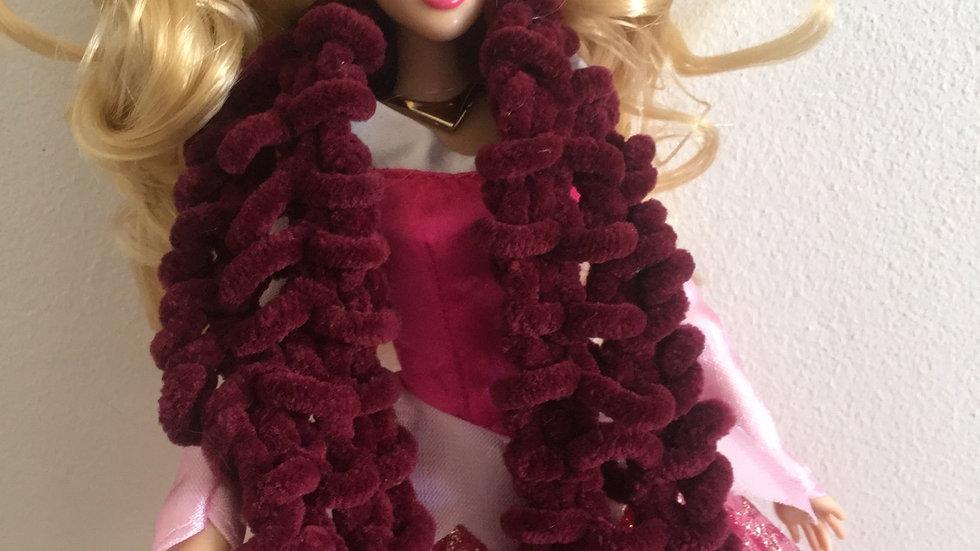 Écharpe large en laine poupée Barbie Bordeau