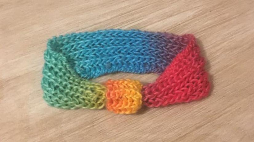 Headband bandeau de tête femme en laine arc en ciel