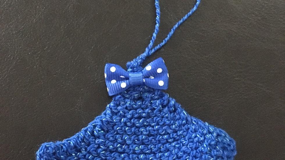 Mini sapin bleu scintillant laine déco ornement de Noël nœud petit pois