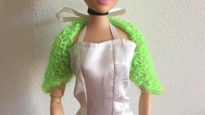 Cache-épaules en laine mohair pour poupée Barbie vert