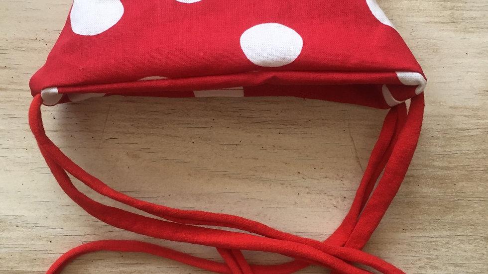 Masque Bec de canard rouge pois blanc