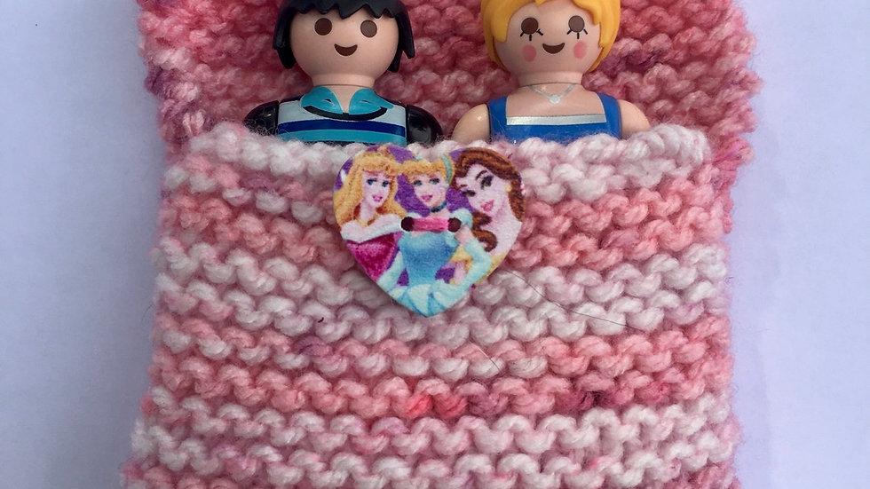 Sac de couchage playmobiles en laine coeur princesses Disney