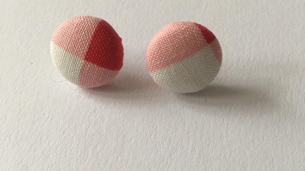 Boucles d'oreilles Clous Carreaux Rouge et Blanc