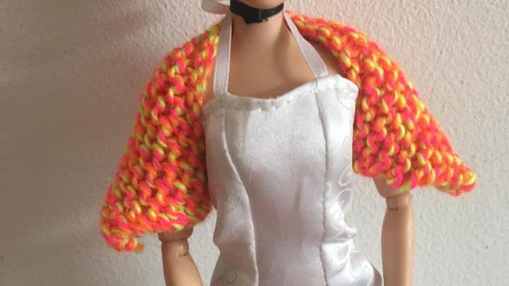 Cache-épaules en laine pour poupée Barbie orange et jaune fluo