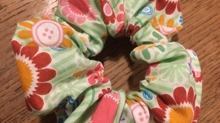 Chouchou Vert à Fleurs