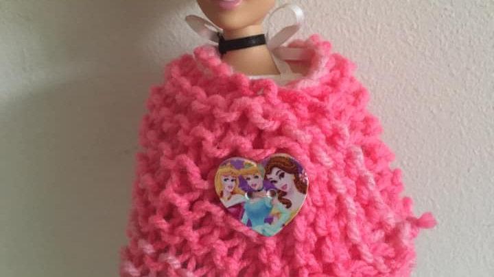 Châle en laine dégradée de rose pour poupée Barbie Princesses Disney