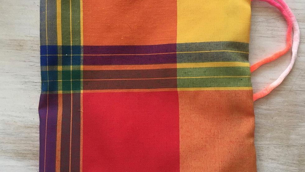 Sac à vrac fait main Madras cordon couleur