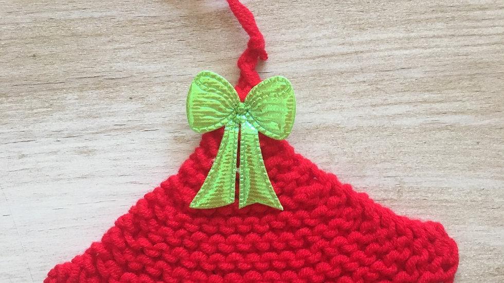 Petit sapin en laine rouge déco ornement de Noël