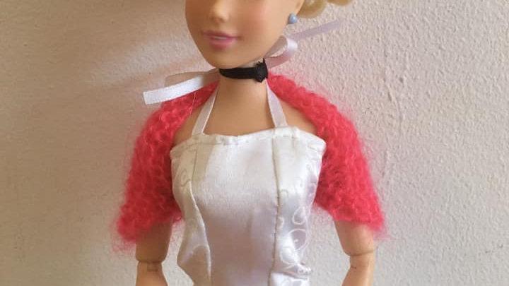 Cache-épaules en laine mohair pour poupée Barbie rose