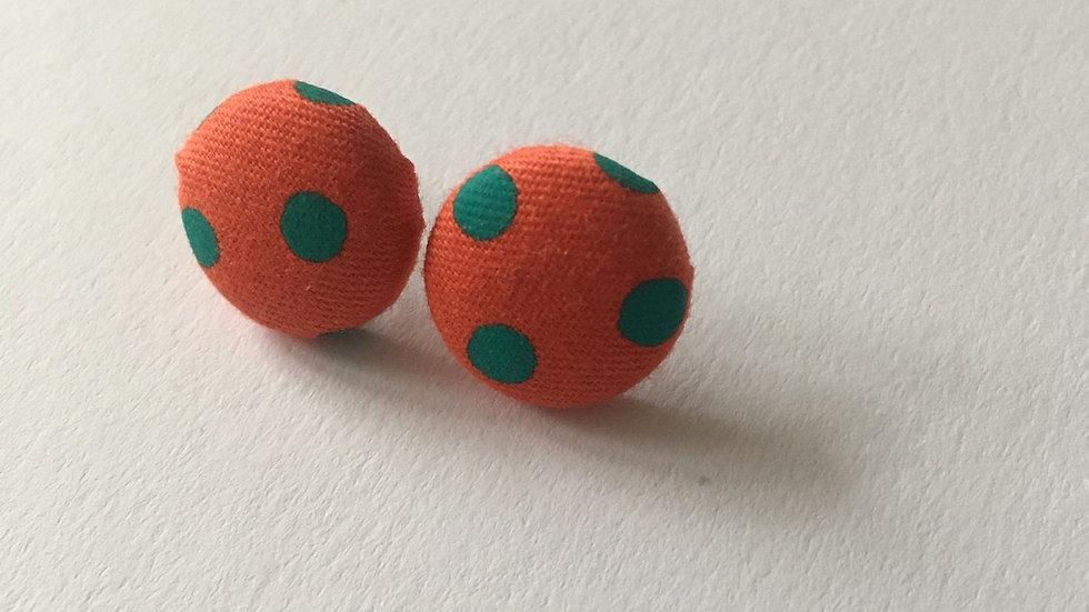 Boucles d'oreilles Clous Orange Sanguine Petit Pois vert