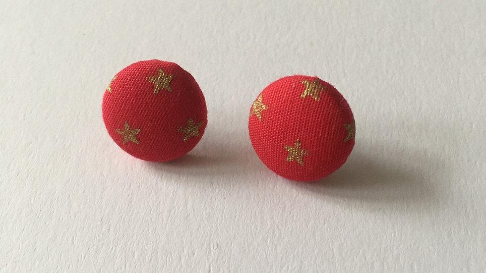Boucles d'oreilles Clous Rouges Étoiles dorées
