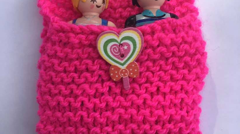 Sac de couchage playmobile en laine rose fluo