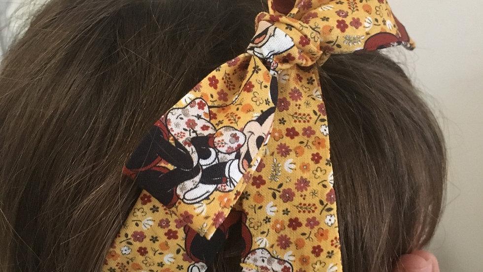 Bandeau Souple à nouer  Minnie Mousse jaune à fleurs