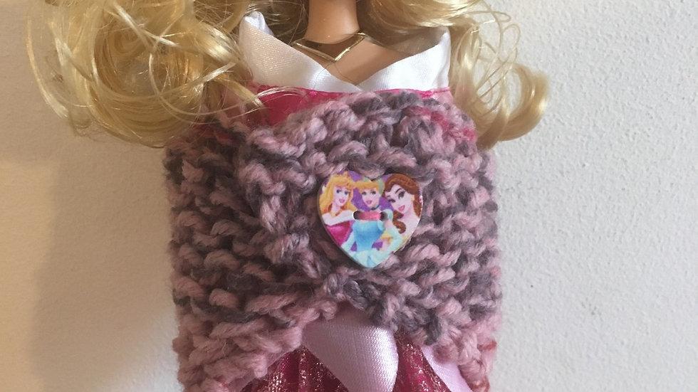 Châle en laine pour Barbie dégradé rose bouton princesses Disney