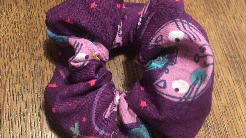 Chouchou cheveux violet chats oiseaux