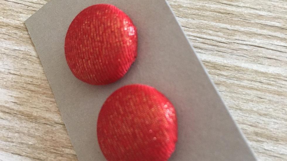 Boucles d'oreilles Clous rouge orange scintillant