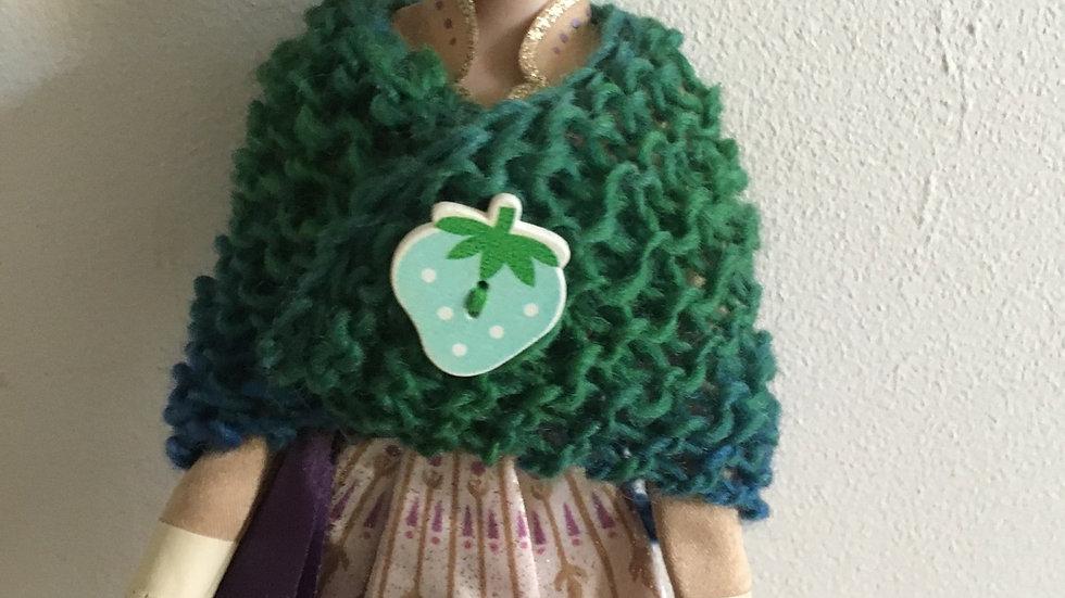 Châle en laine pour barbie dégradé vert bleu