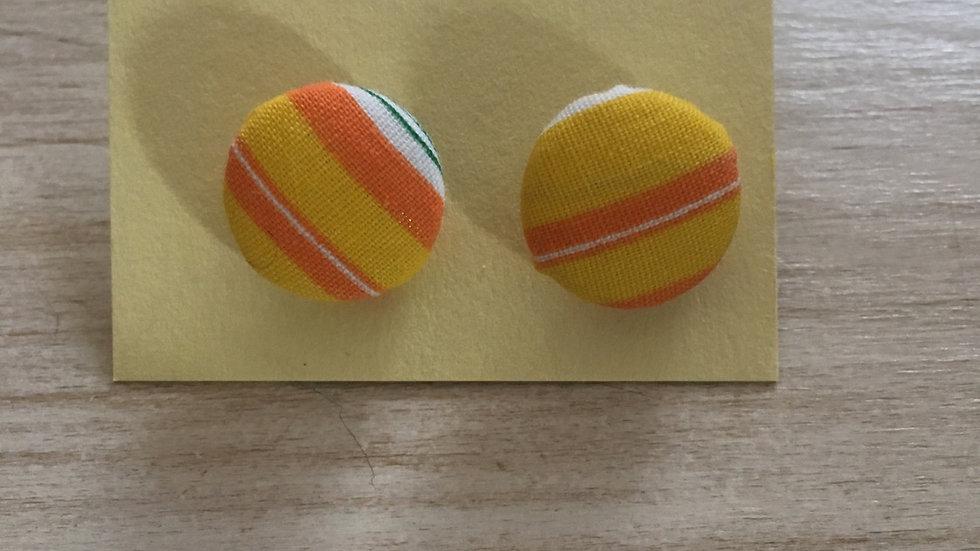 Boucles d'oreilles Clous rayures jaunes oranges vertes