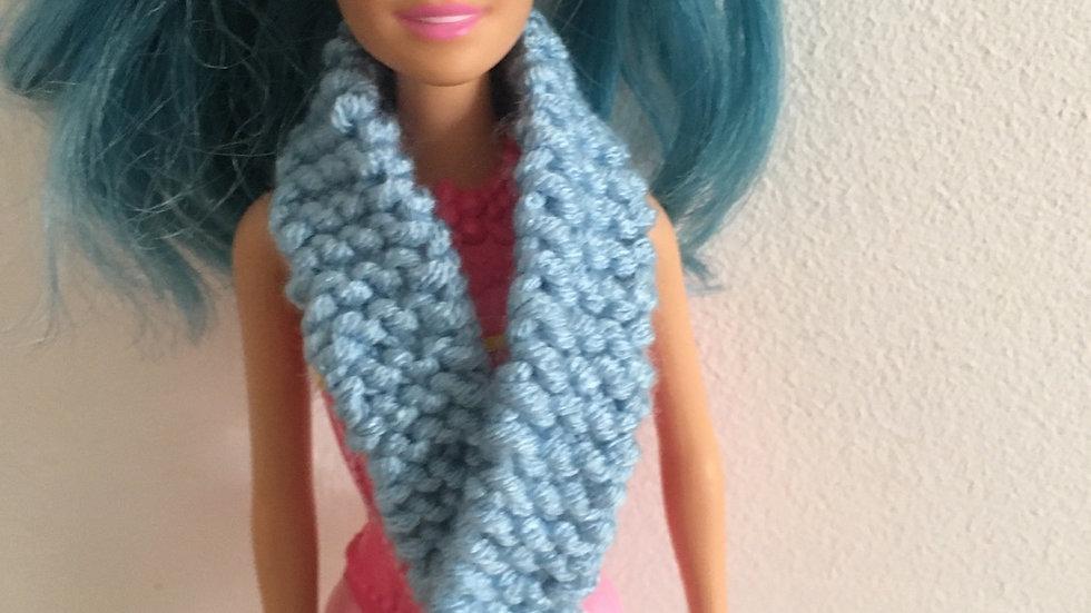 Écharpe fine en laine bleue poupée Barbie