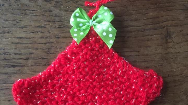 Mini sapin en laine rouge scintillante déco ornement de Noël