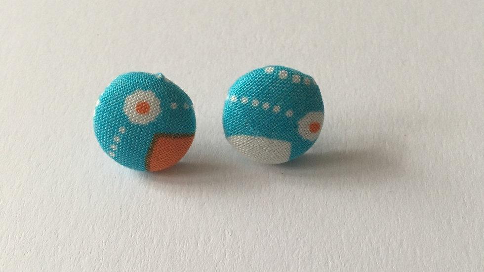 Boucles d'oreilles Clous Bleu Orange Fleurs