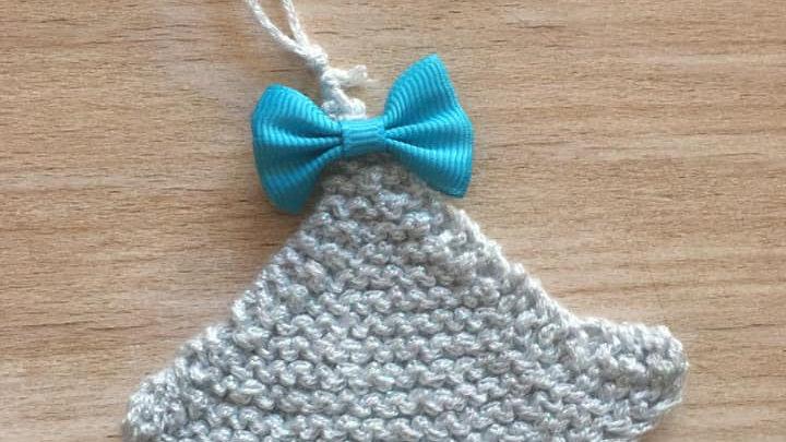 Mini sapin bleu scintillant en laine déco ornement de Noël nœud