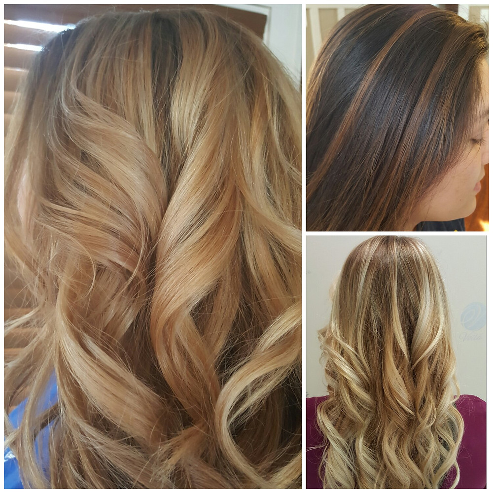 Golden blonde highlgithleft), brunette and caramel balyage(top right), blonde on blonde hair painting(bottom right)