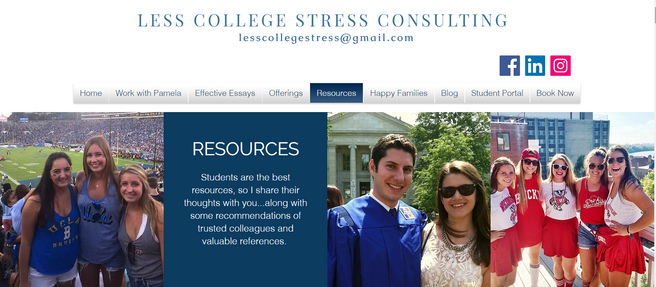Vist the new Resources Page at www.lesscollegestress.com!