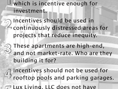 Lux Living, LLC Request for Incentives Katz Project as Proposed