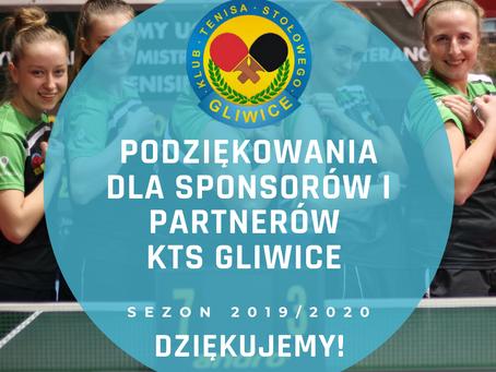 Podziękowania dla sponsorów i partnerów KTS Gliwice!