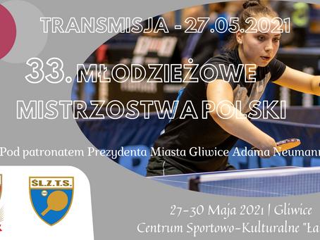 Informacja od Organizatora 33. Młodzieżowych Mistrzostw Polski w Tenisie Stołowym