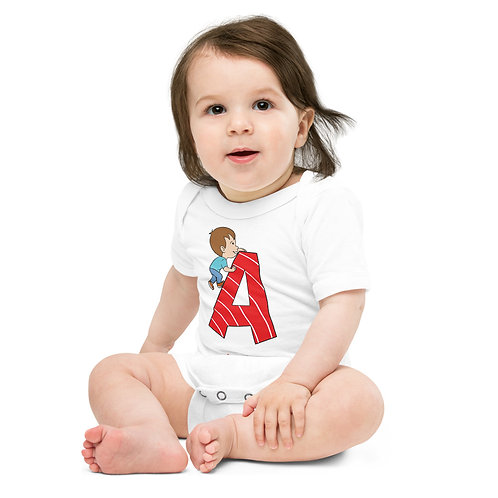Letter A - Baby short sleeve one piece
