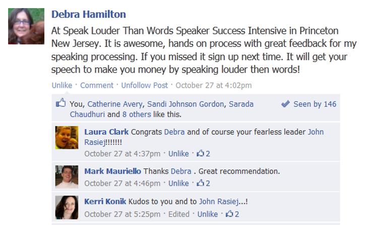 Facebook recommendation from Debra Hamilton