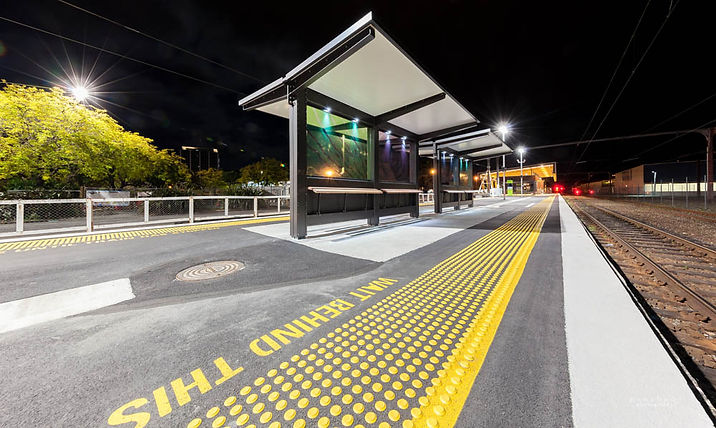 The new Upper Hutt Train Station Platform with stained Glass by Dzine Signs