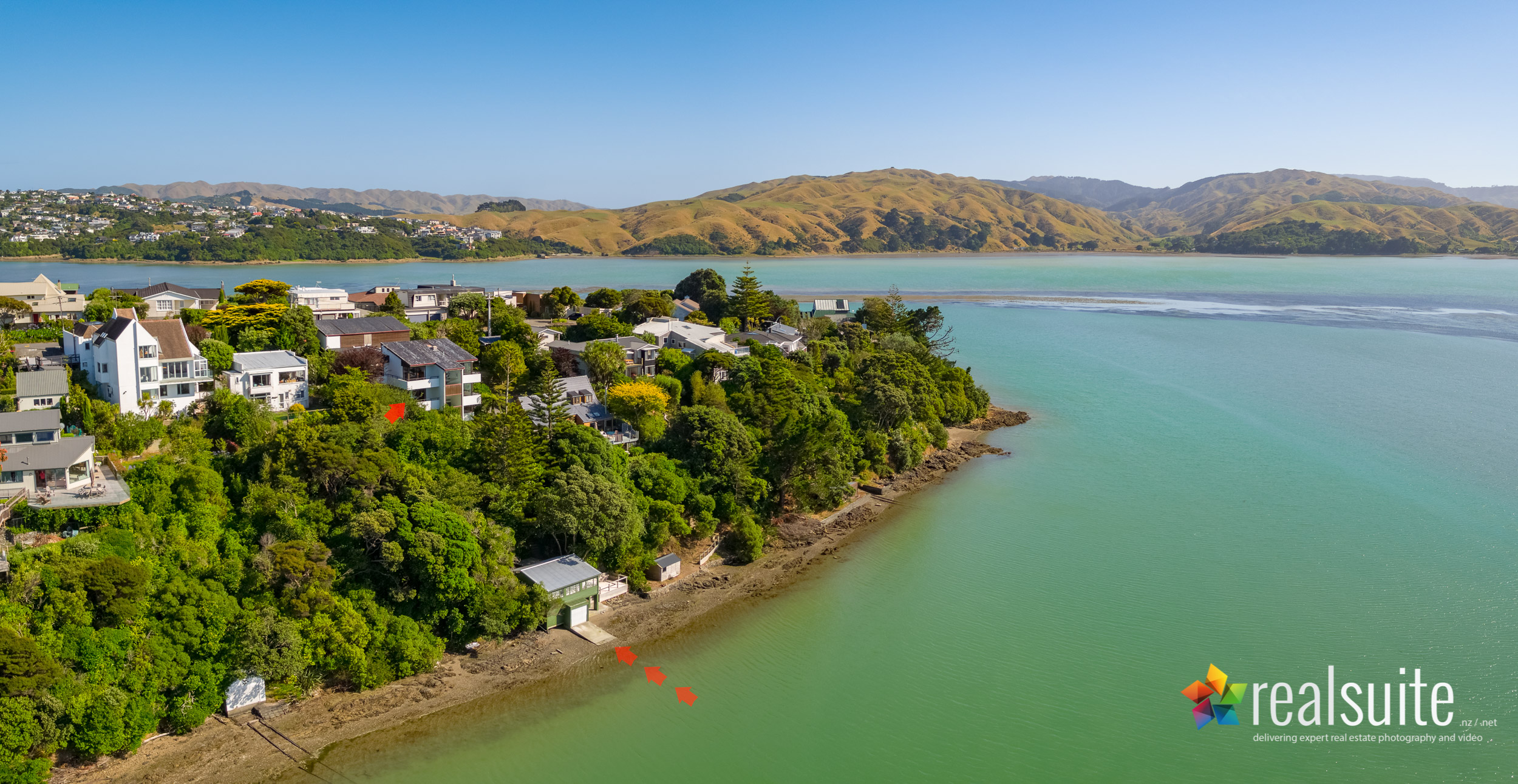 66 Seaview Road, Paremata, Aerial 0016-Pano-Arrows