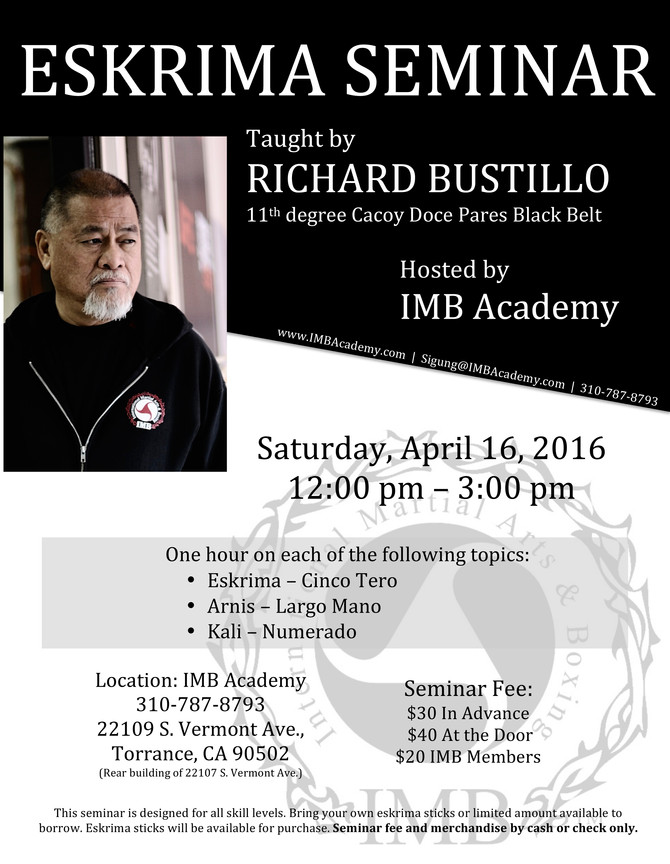 Eskrima Seminar, hosted by IMB Academy