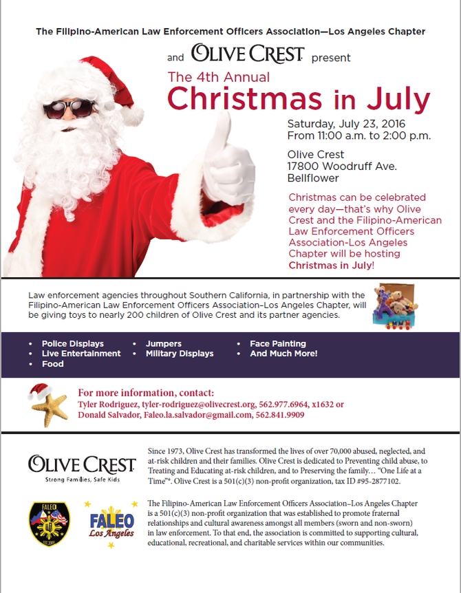 4th Annual Christmas in July at Olive Crest