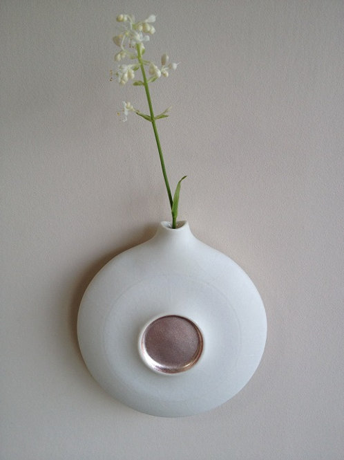 Wall vase with coloured silver leaf decoration