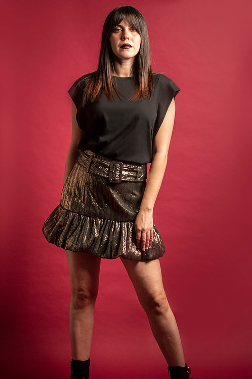 DISCO METALLIC BELTED MINI SKIRT