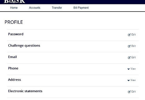 Online Banking profile page with links to change password, challenge questions and other settings