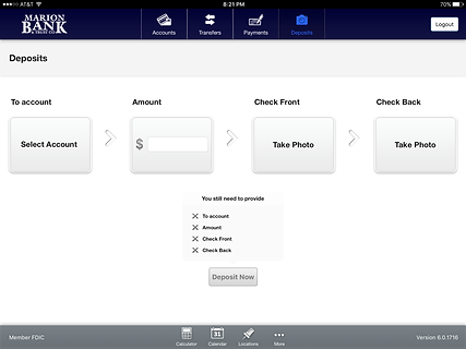Mobile Banking Deposits page on the tablet app