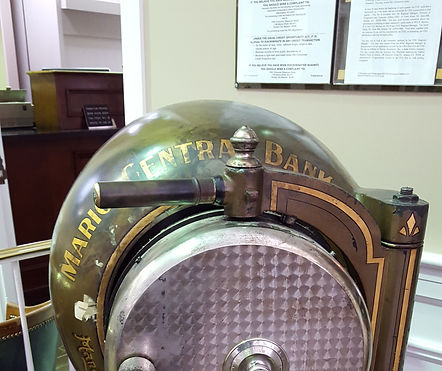 Old cannonball safe from Marion Central Bank